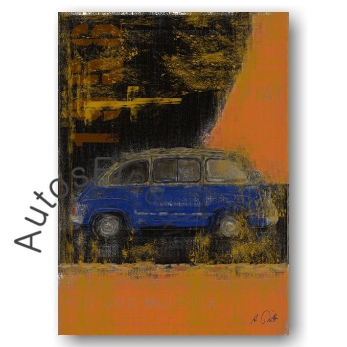 Fiat 600 Multipla - HD Aluminiumbild No. 102Plate