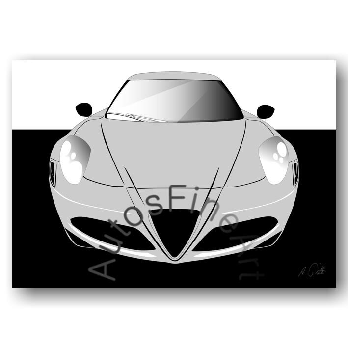 Alfa Romeo 4c - HD Aluminiumbild No. 90sketch