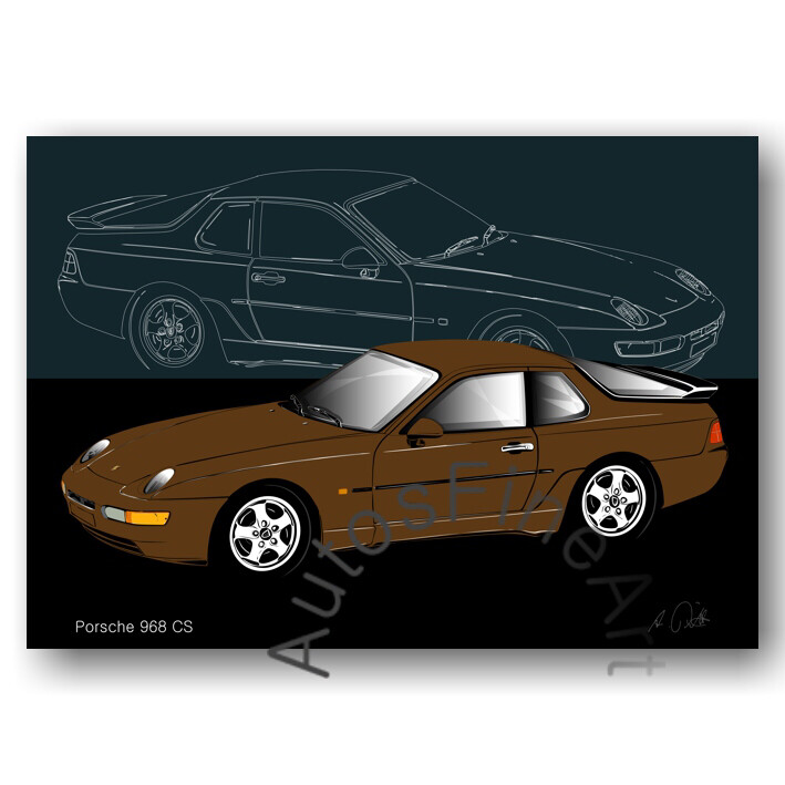 Porsche 968 CS - HD Aluminiumbild No. 130sketch