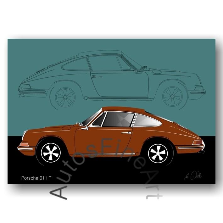 Porsche 911 T - HD Aluminiumbild No. 111sketch