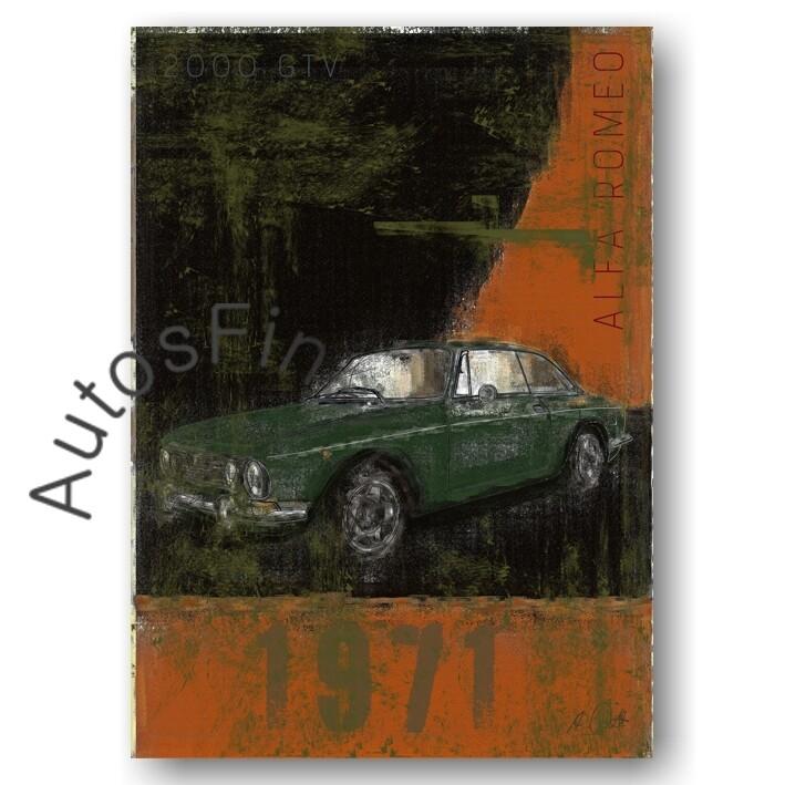 Alfa Romeo 2000 GTV BERTONE -Kunstdruck No. 50Plate