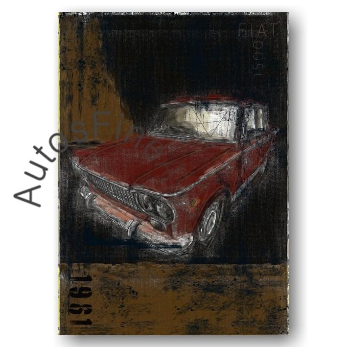 Fiat 1500 - HD Aluminiumbild No. 157Plate