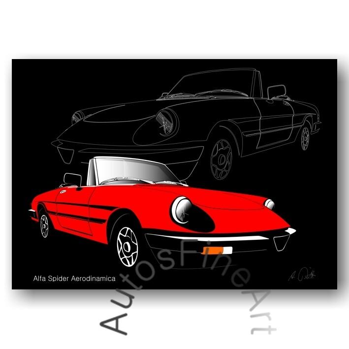 Alfa Romeo Spider Aerodinamica - HD Aluminiumbild No. 30sketch