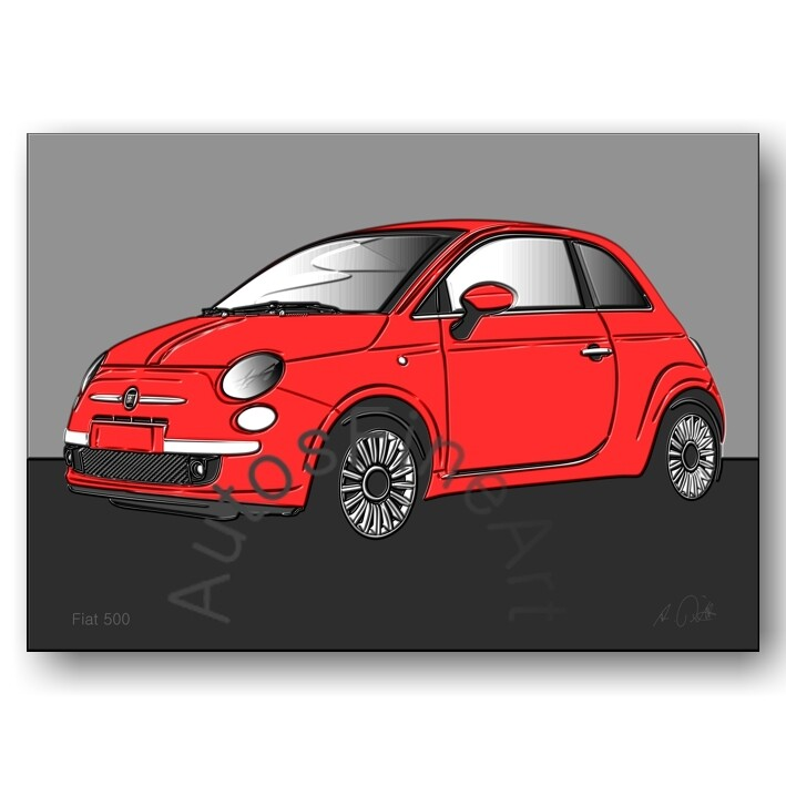 Fiat 500 - HD Aluminiumbild No. 75up