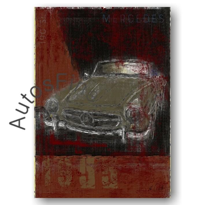 Mercedes 190 SL - Kunstdruck No. 134Plate DIN A3