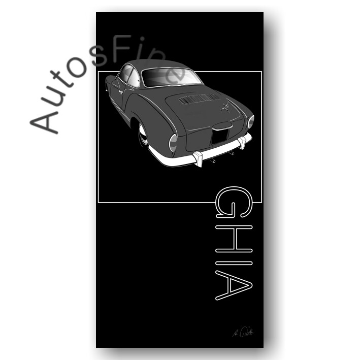 VW Karmann Ghia - Kunstdruck No. 154named sw