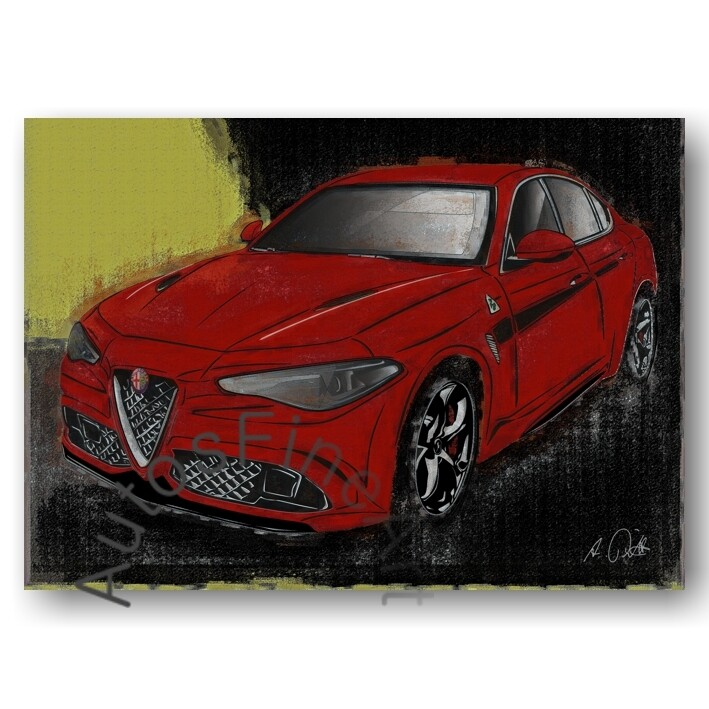 Alfa Romeo Giulia Quadrifoglio - Kunstdruck No. 151vintage