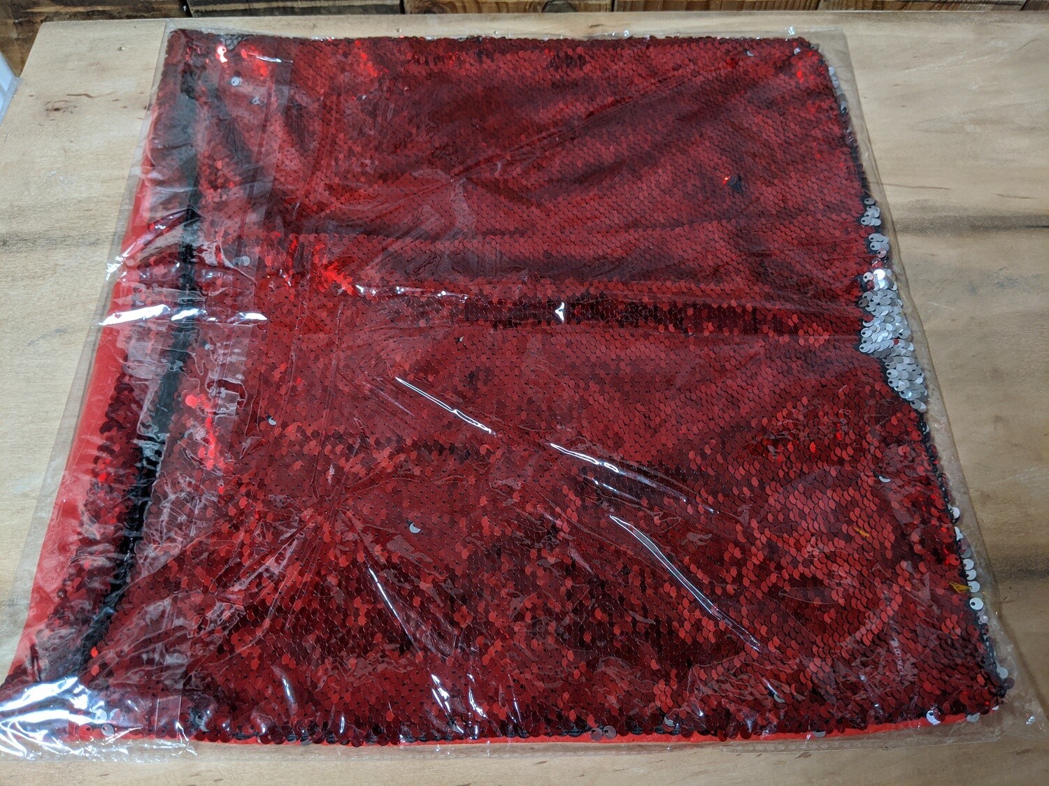 Red/Silver Sequin Throw Pillow Cover