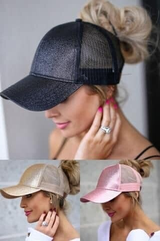 Glitter Ponytail Hats - In Stock
