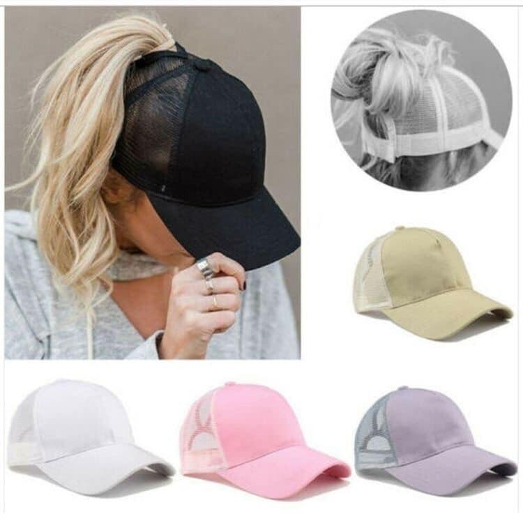Solid Colour Ponytail Hat