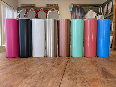 20oz Skinny Stainless Steel Tumblers (Non Sublimation)