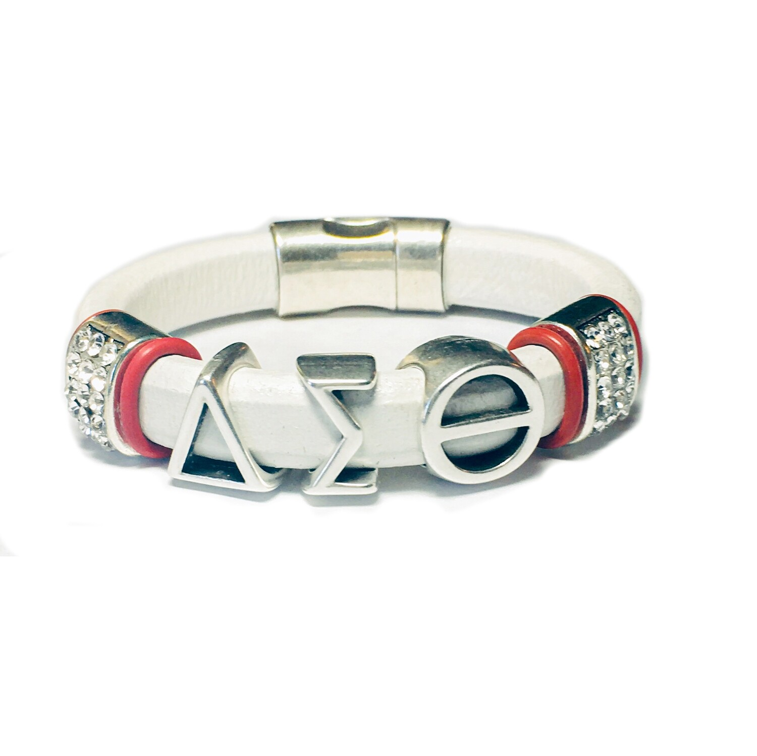 Bracelet | White Leather Delta Sigma Theta With Bling Classy Creations Originals