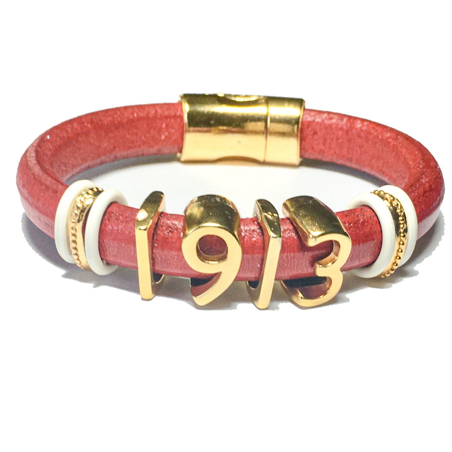 Bracelet | Red Leather With Gold 1913 Numbers Classy Creations Originals