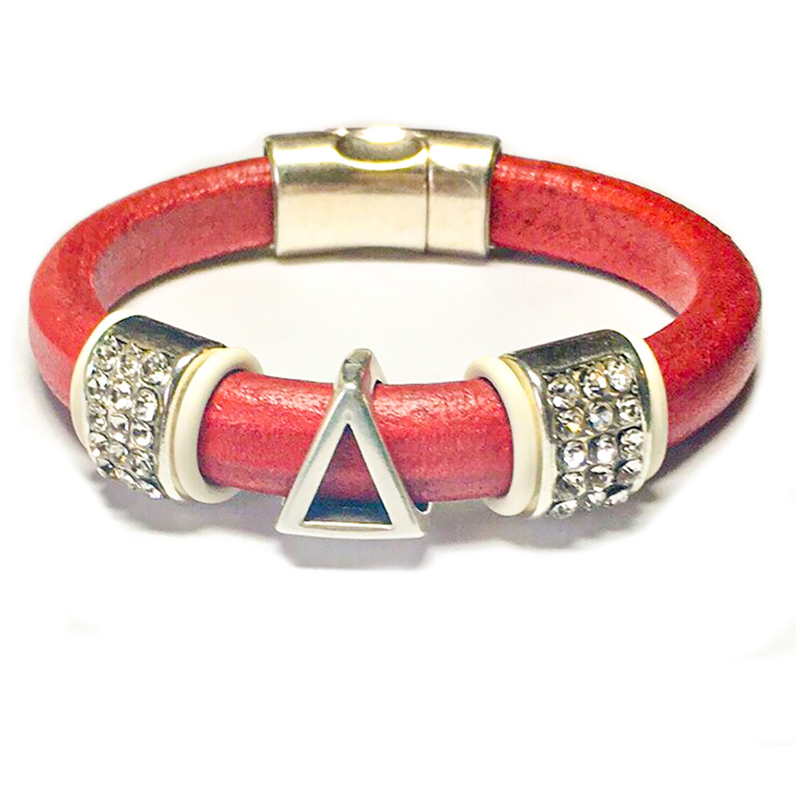 Bracelet | Red Leather Pyramid Symbol With Bling Classy Creations Originals