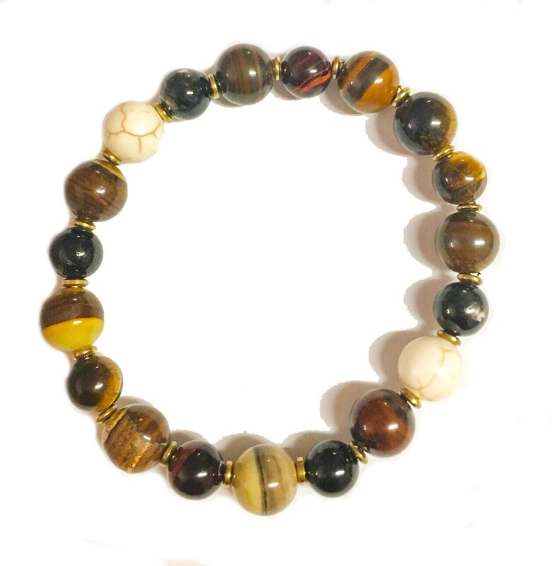 Bracelet | Men's Multi Colored  With Gold Accent