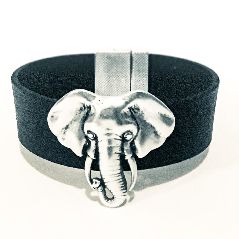 Bracelet| Women's Black Leather Small Elephant Cuff Classy Creations Originals