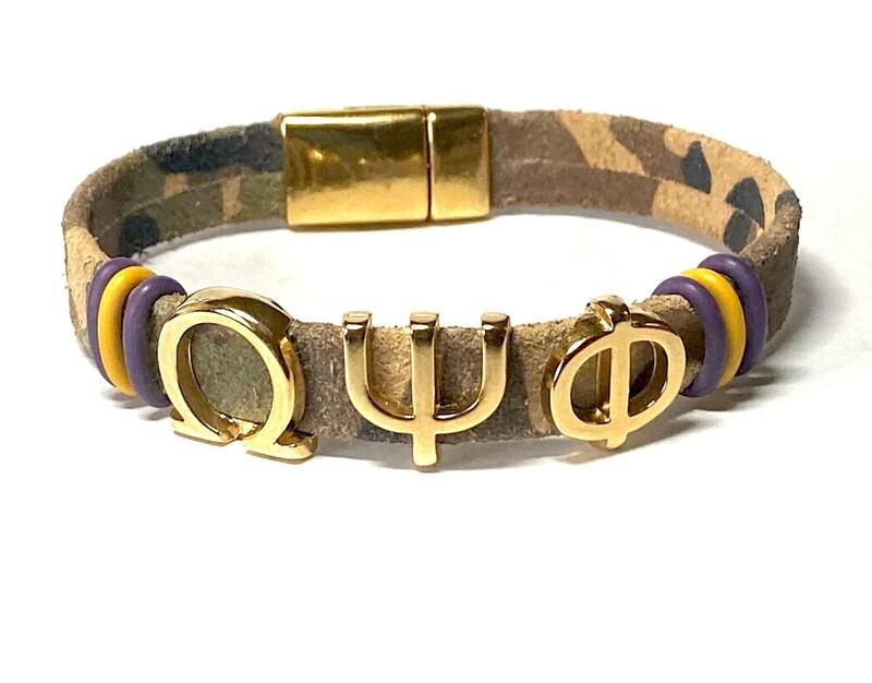 Bracelet/ Men's Omega Camouflage Leather