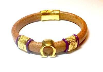 Bracelet/ Men's Omega Tan Leather Single Style