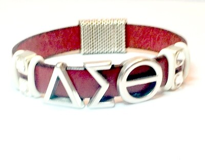 Bracelet | Red And Silver Bling Flat Leather Classy Creations Originals