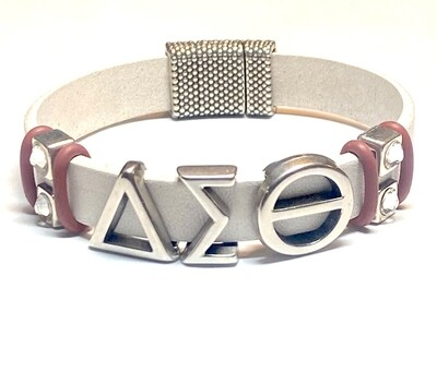 Bracelet | White And Silver Bling Flat Leather Classy Creations Originals