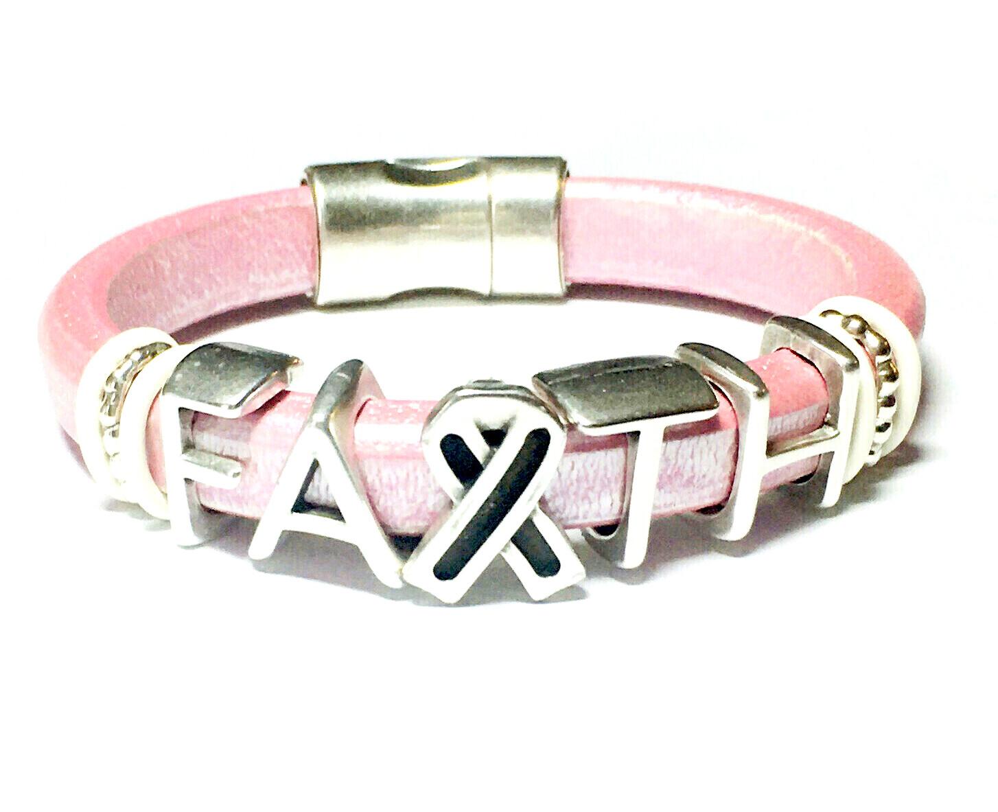 Bracelet | Women's Pink Leather Faith Bracelet Classy Creations Originals