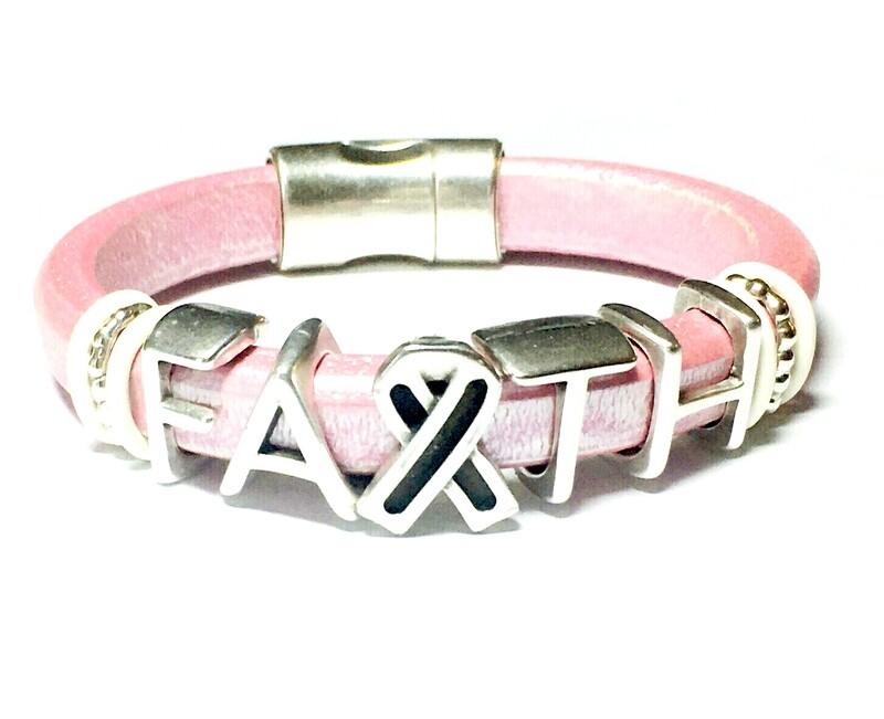 Bracelet   Women's Pink Leather Faith Bracelet Classy Creations Originals