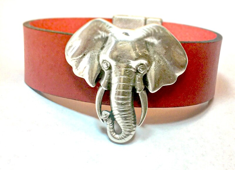 Bracelet | Women's Red leather Elephant Small Silver Cuff