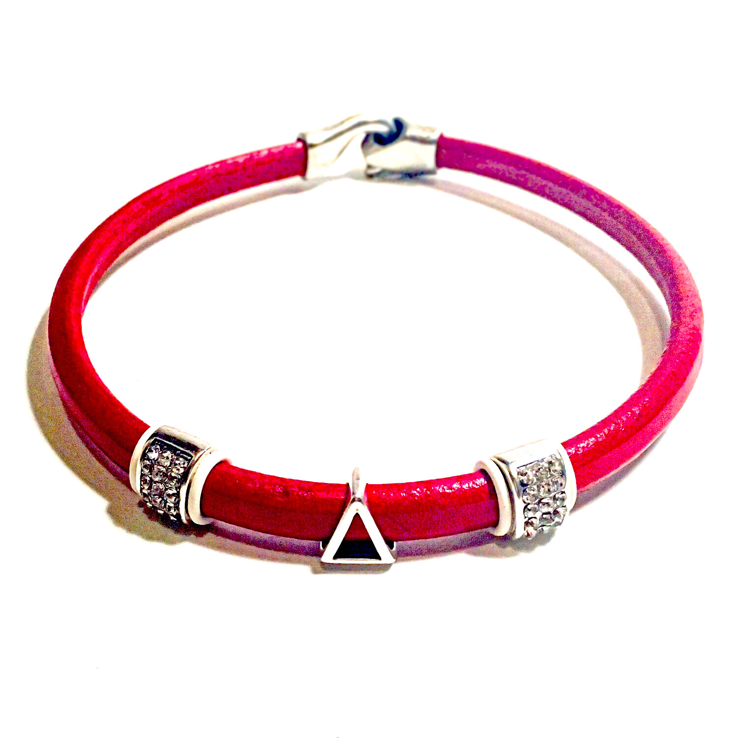 Necklace | Red Leather Pyramid Chocker With Bling Classy Creations Originals