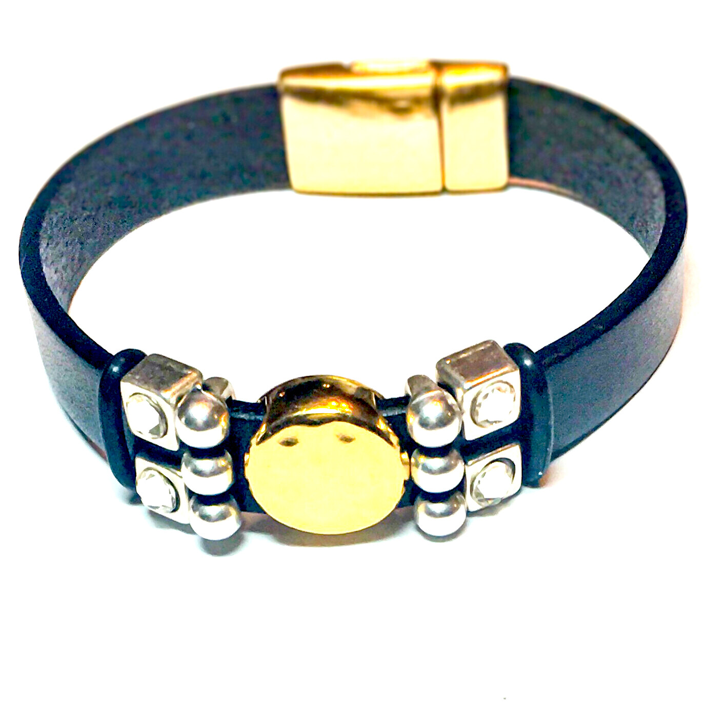 Bracelet | Women's Black Leather & Gold With Silver Bling
