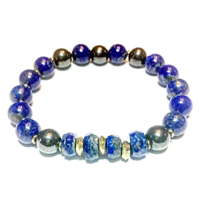 Bracelet| Men's Lapis Natural StoneBracelet With Silver & Gold