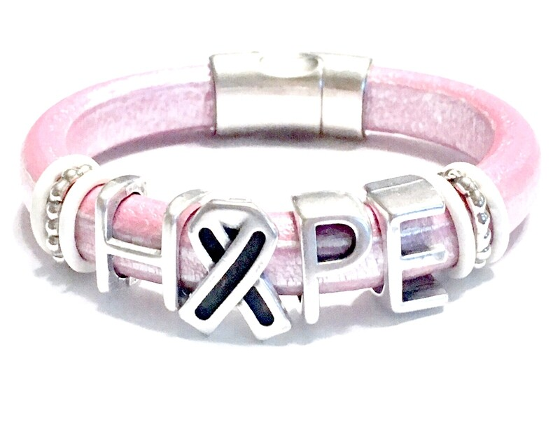Bracelet   Women's Pink Leather Hope Bracelet Classy Creations Originals