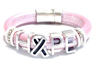 Bracelet | Women's Pink Leather Hope Bracelet Classy Creations Originals