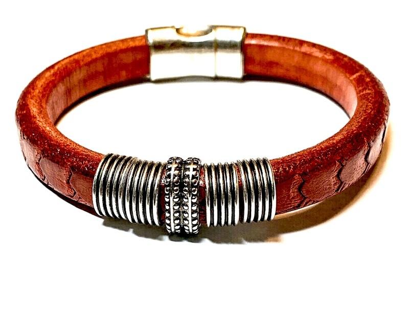 Bracelet   Men's Red Leather
