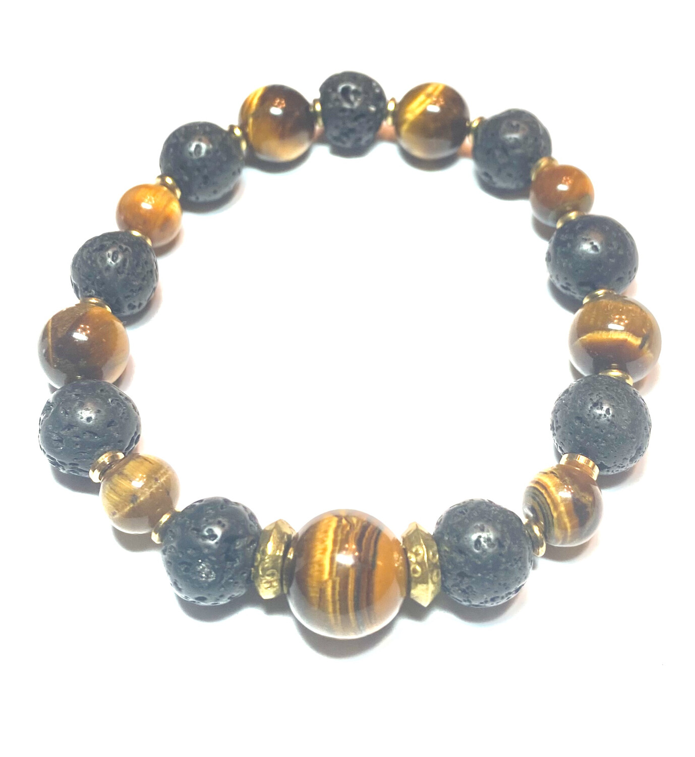 Bracelet | Men's Black And Gold With Tiger Eye