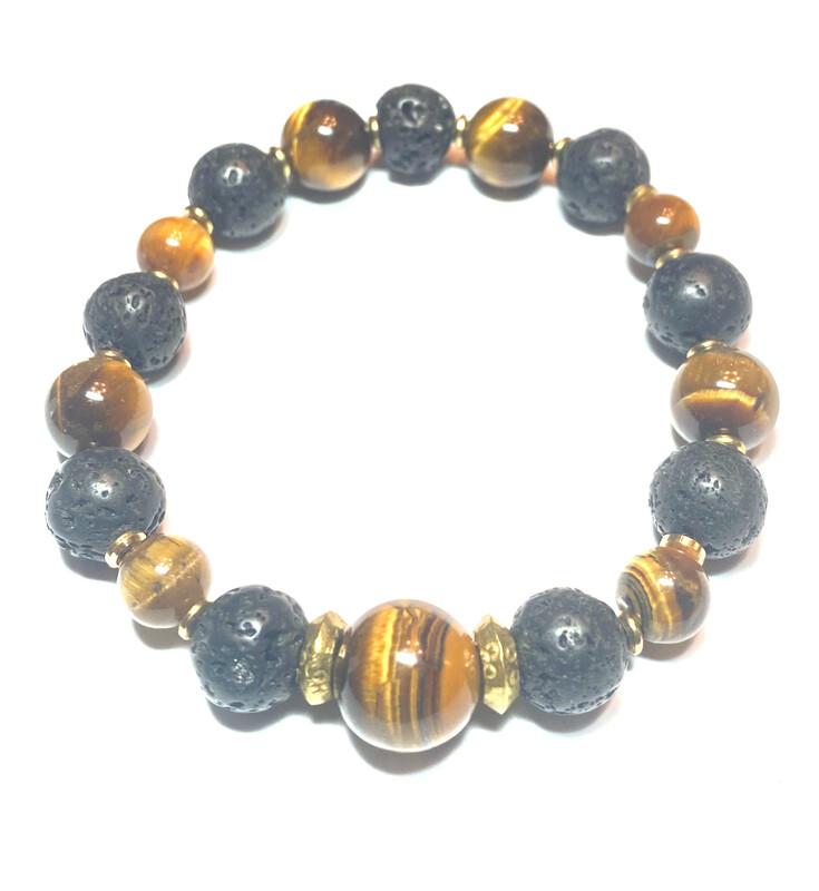 Bracelet | Men's Black And Gold With Tiger Eye