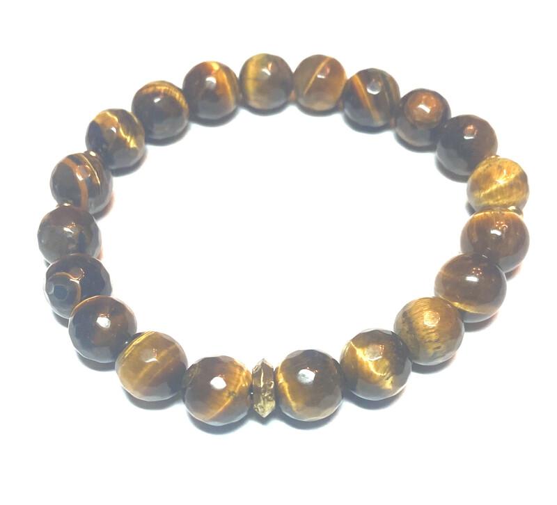 Bracelet   Men's Tiger Eye With Gold