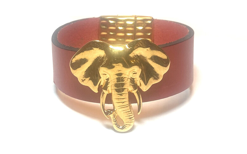 Bracelet | Women's Red leather Small Elephant Gold Cuff Classy Creations Original