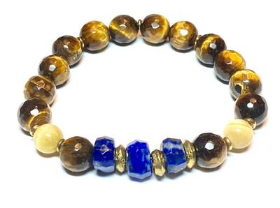 Bracelet | Men's Blue And Gold With Tiger Eye