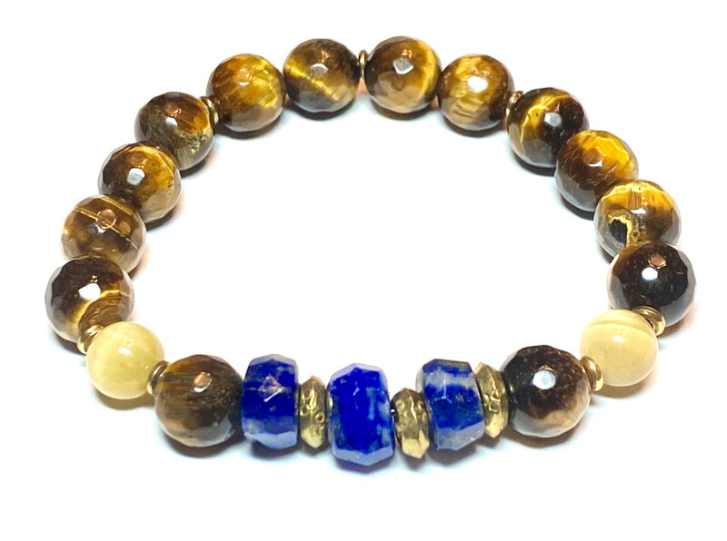 Bracelet   Men's Blue And Gold With Tiger Eye