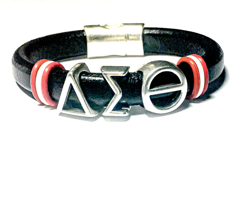 Bracelet   Black Leather Delta Sigma Theta With Red And With Rings Classy Creations Originals