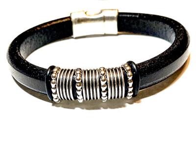 Bracelet | Men's Black leather