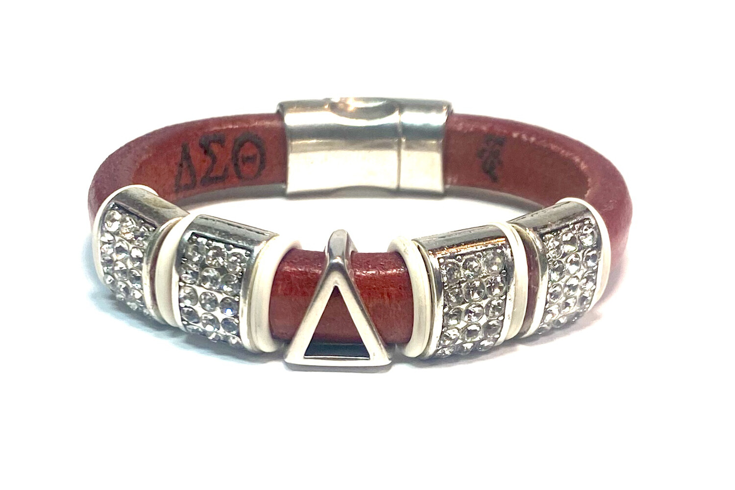 Bracelet | Red Leather Pyramid Symbol With Bling Bling Classy Creations Originals