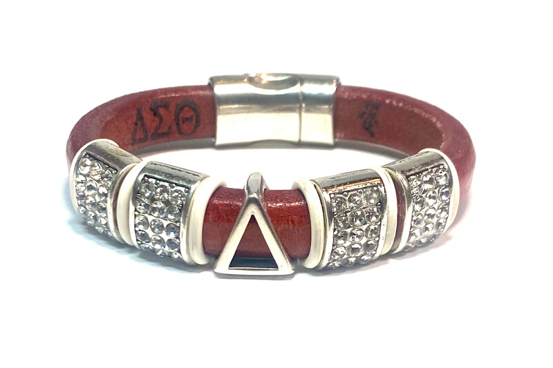Bracelet   Red Leather Pyramid Symbol With Bling Bling Classy Creations Originals