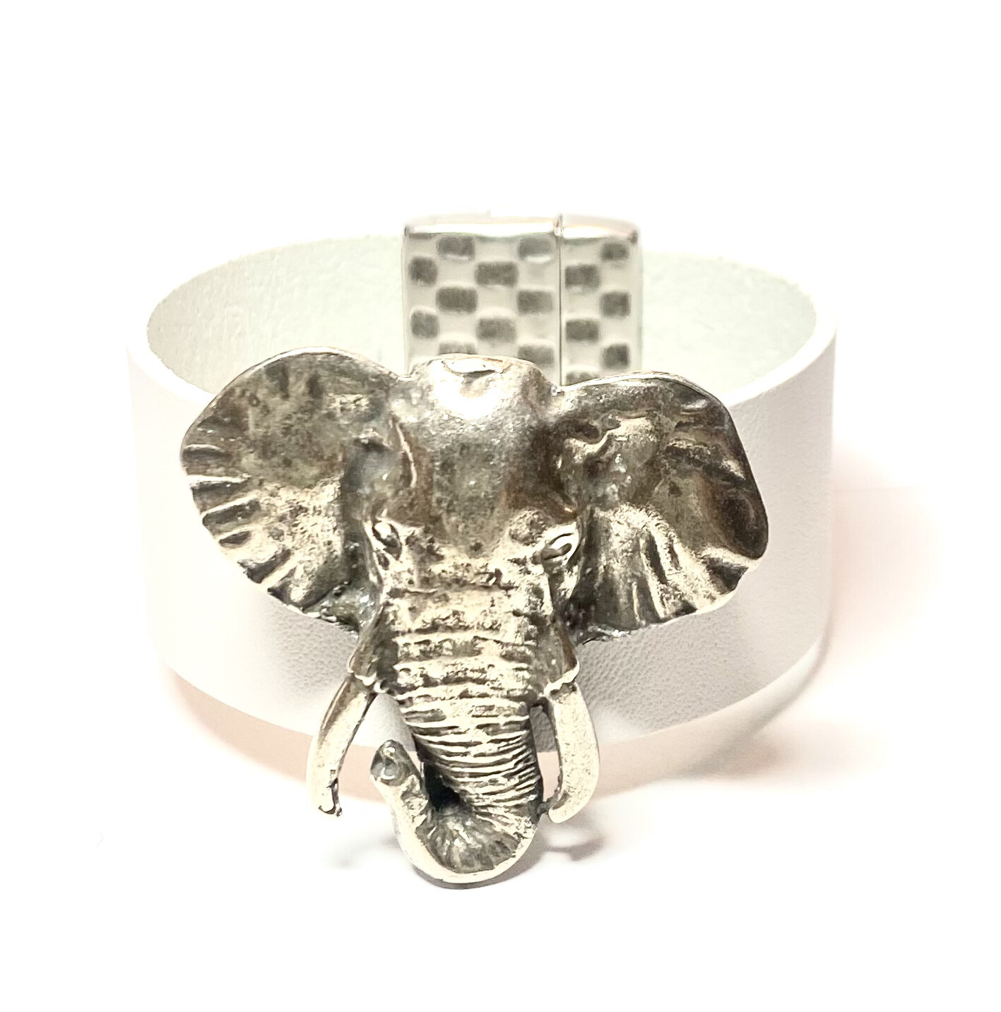 Bracelet|  Women's White Leather Large Elephant Cuff  Classy Creations Original