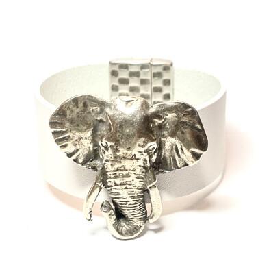 Bracelet|  Women's White Leather Large Elephant Cuff  Classy Creations Original