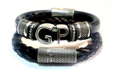 Bracelet | Men's Black leather Initials Combo Set