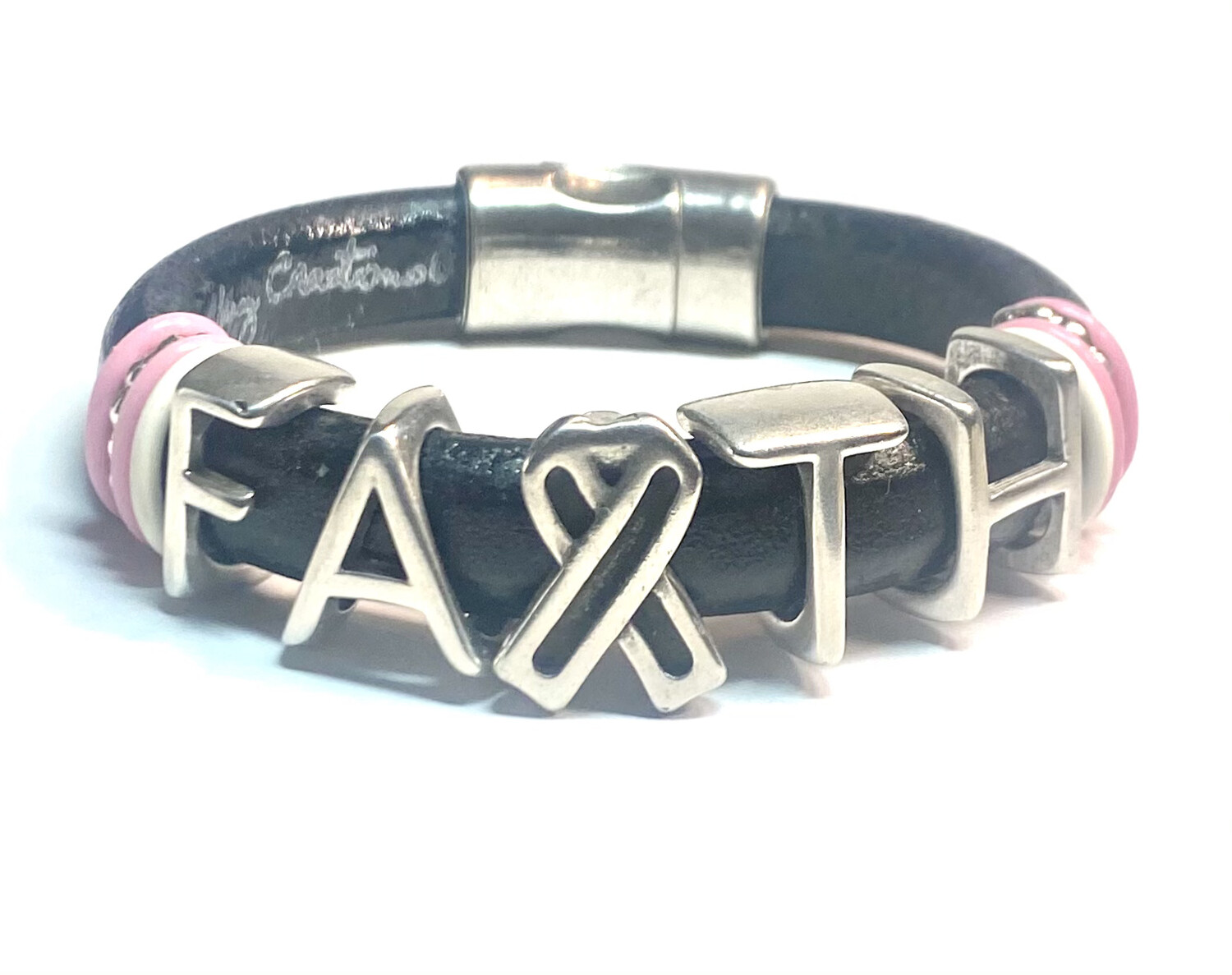 Bracelet | Women's Black Leather Faith Bracelet Classy Creations Originals