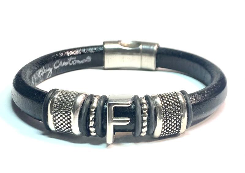 Bracelet   Men's Black leather Initials Style
