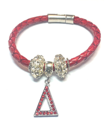 Bracelet   Red Leather Rope With Pyramid Bling Classy Creations Originals