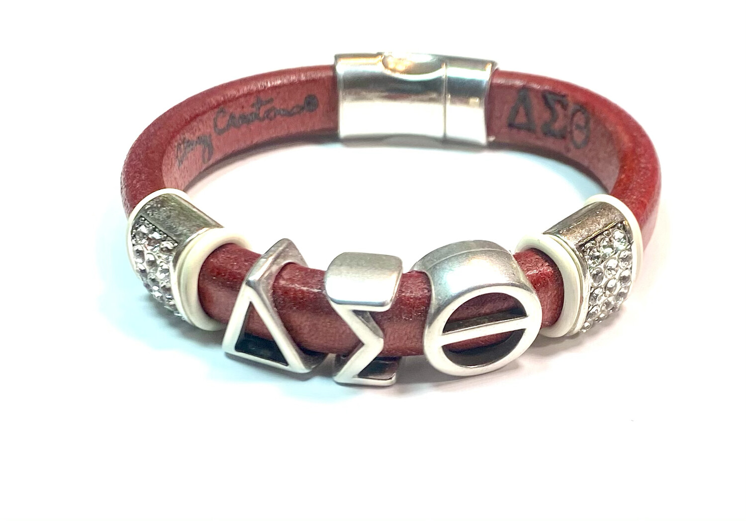 Bracelet | Red Leather Delta Sigma Theta With Clear Bling And White Rings Classy Creations Originals